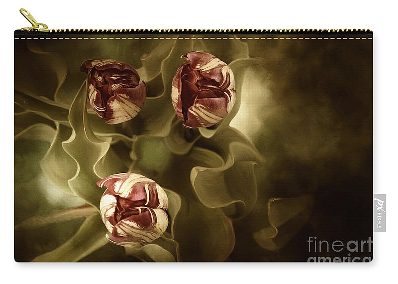 Digital Painting Carry-all Pouch featuring the painting Tulips In The Mist II by Beve Brown-Clark Photography