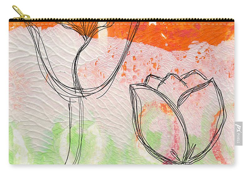 Abstract Carry-all Pouch featuring the mixed media Tulips by Linda Woods