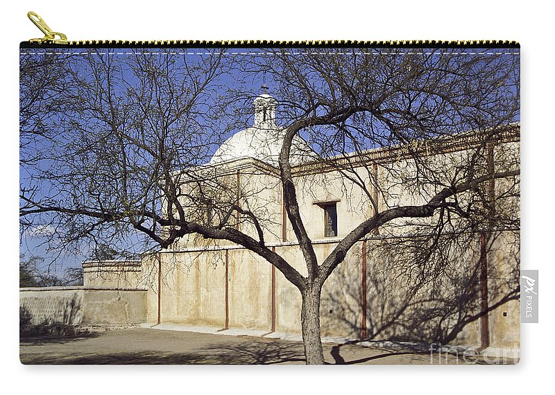 Mission Carry-all Pouch featuring the photograph Tumacacori With Tree by Kathy McClure