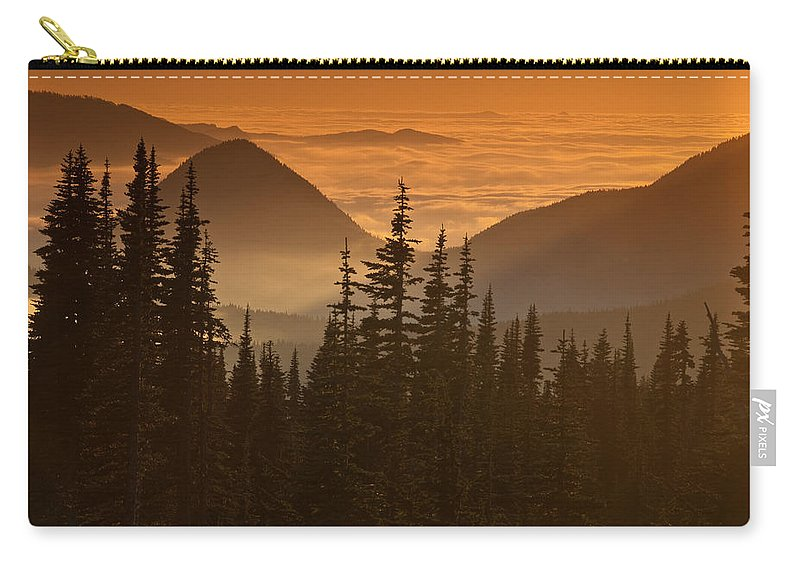 Beauty In Nature Carry-all Pouch featuring the photograph Tumtum Peak At Sunset by Jeff Goulden