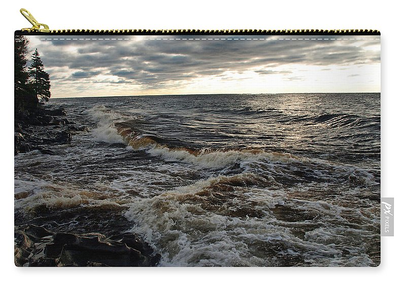 Photography Force Of Nature Lake Superior Superior's North Shore Clouds Cloudy Cloudscape Cloudscapes Creek Great Lakes Tumultuous Waters Troubled Action Rough Seas Seascape Seascapes Cabin Cascade River State Park Parks Lodge Turbulent Violent Agitated Turbulent Raging Wild Wave Dark Weather Amazing Turbulence Scenic Dramatic Surf Intense Waves Extreme Breaking Windy Strong Splashing Overcast Choppy Crashing Abstract Seething Wildly Churning Rolling Boiling Tempest Grey Tremendous Storming Carry-all Pouch featuring the photograph Tumultious Waters by James Peterson