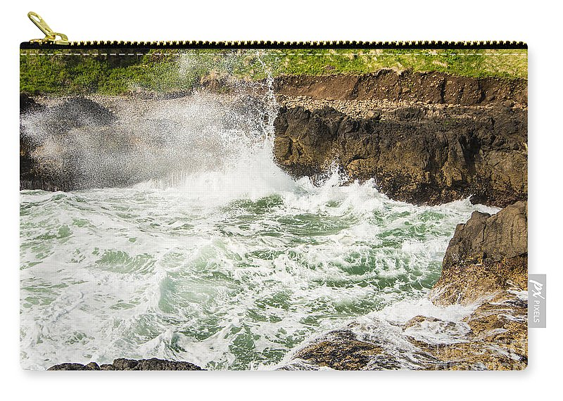 Devils Churn Carry-all Pouch featuring the photograph Turbulent Devils Churn - Oregon Coast by Gary Whitton