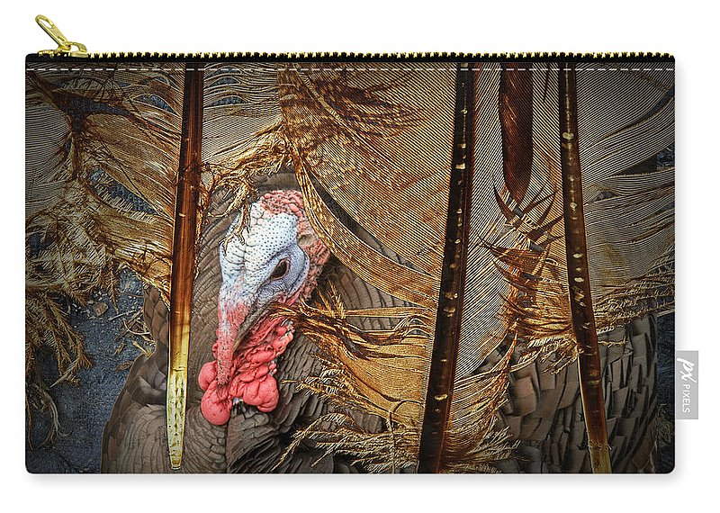 Feather; Feathers; Turkey; Pennaceous Feathers; Vaned Feathers; Rachis; Barb; Quill; Foul; Poultry; Black & White; Graphic; Patterns; Photograph; Fine Art; Art; Photography; Art Print; Art Work; Randynyhof Carry-all Pouch featuring the photograph Turkey And Feathers by Randall Nyhof