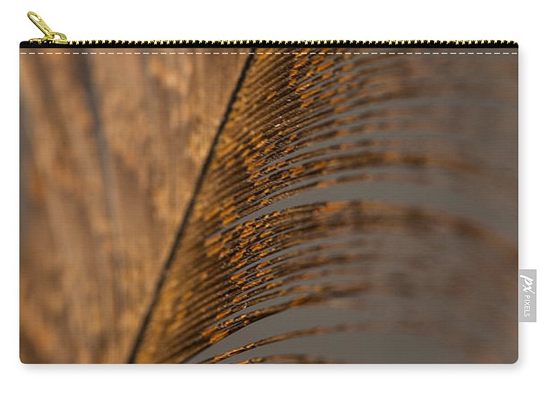 Turkey Feather Carry-all Pouch featuring the photograph Turkey Feather by Karol Livote