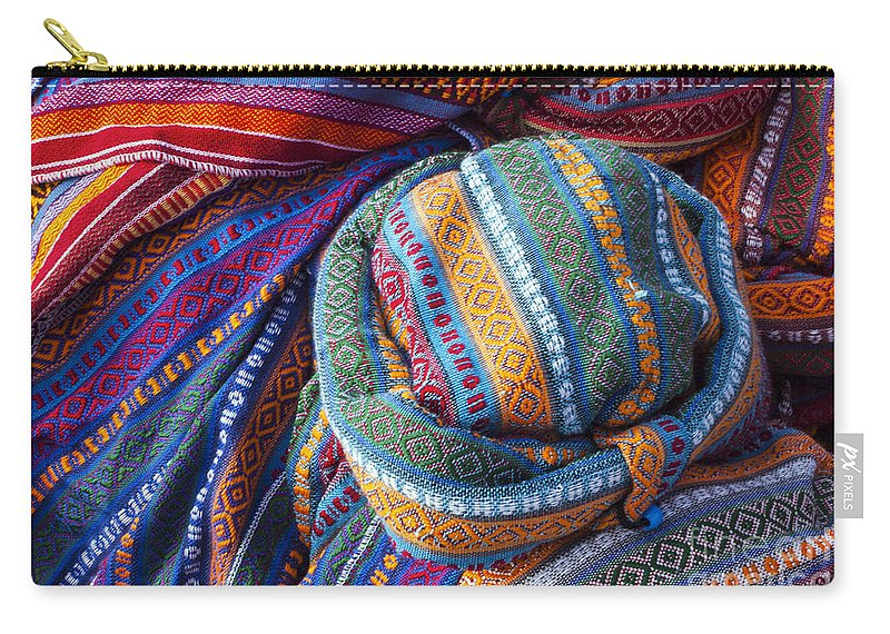 Derinkuyu Turkey Cappadocia Anatolia Cap Caps Hat Hats Scarf Scarfs Wool Woolen Woven Store Stores Shop Shops Still Life Market Markets Carry-all Pouch featuring the photograph Turkish Cap by Bob Phillips
