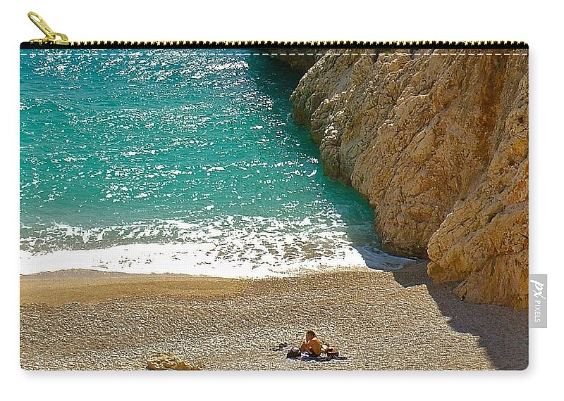 Turquoise Coast By Aegean Sear Carry-all Pouch featuring the photograph Turquoise Coast By Aegean Sea-turkey by Ruth Hager