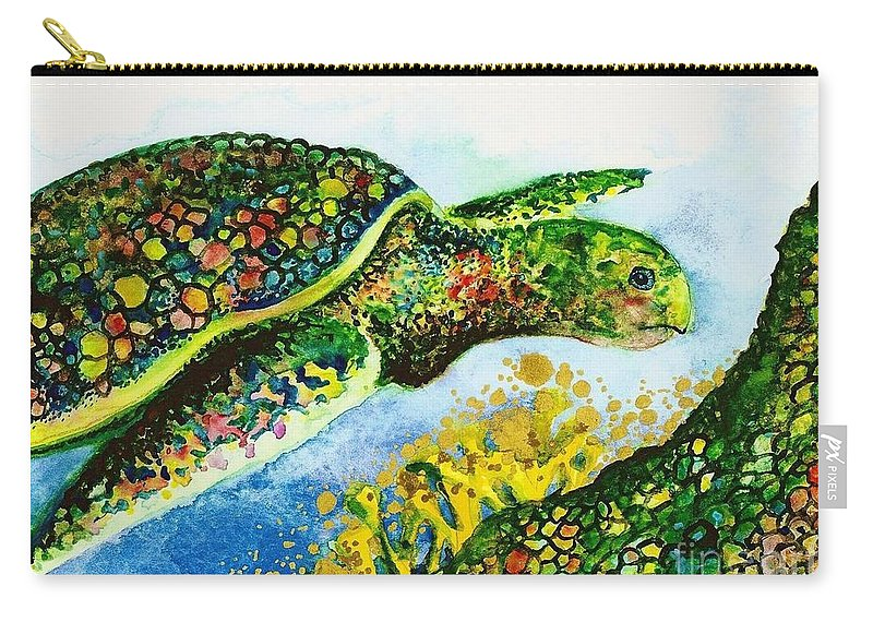 Nature Carry-all Pouch featuring the painting Turtle Love by Frances Ku