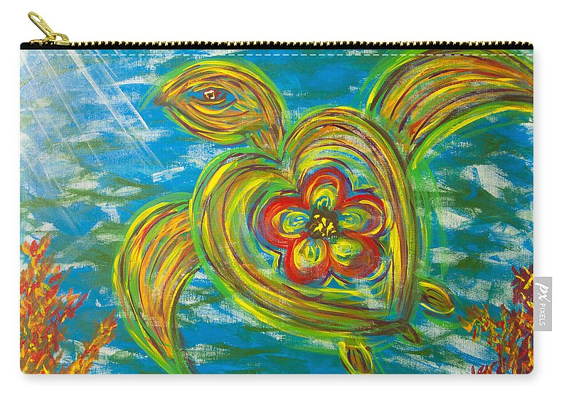 Seaturtle Carry-all Pouch featuring the painting Turtle Love by Susan Cliett
