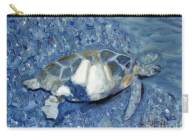 Turtle Carry-all Pouch featuring the painting Turtle On Black Sand Beach by Laurie Morgan