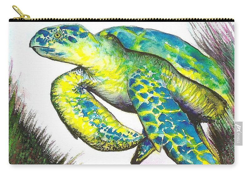 Nature Carry-all Pouch featuring the painting Turtle Wonder by Frances Ku
