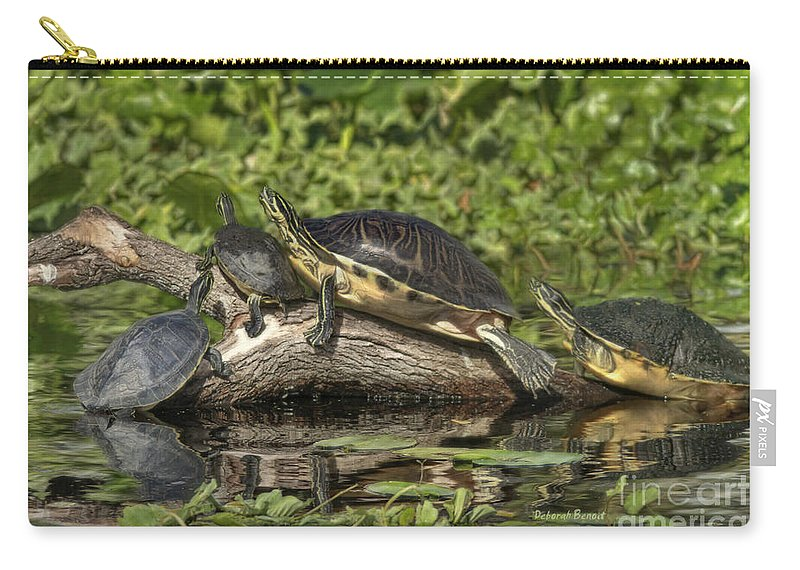 Turtles Carry-all Pouch featuring the photograph Turtles Sunning by Deborah Benoit