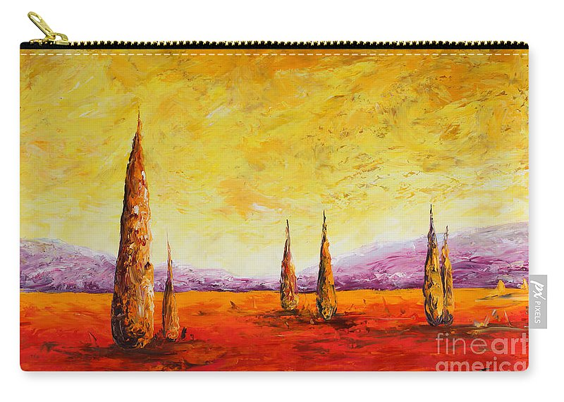 Trees Carry-all Pouch featuring the painting Tuscan Blast by Andrew Sanan