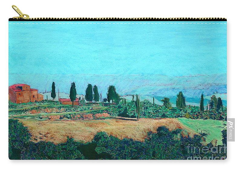 Landscape Carry-all Pouch featuring the painting Tuscan Farm by Allan P Friedlander