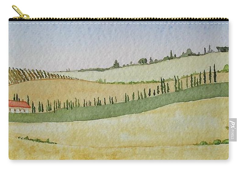 Italy Carry-all Pouch featuring the painting Tuscan Hillside Four by Mary Ellen Mueller Legault