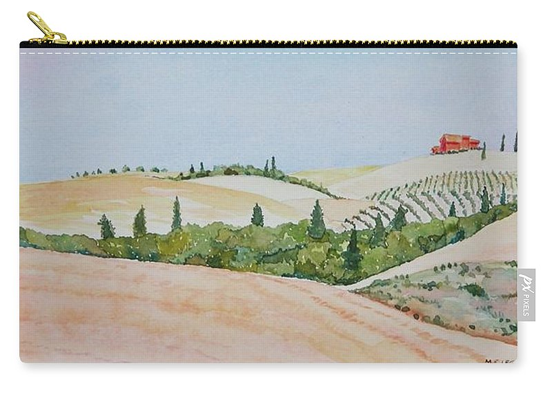 Landscape Carry-all Pouch featuring the painting Tuscan Hillside One by Mary Ellen Mueller Legault