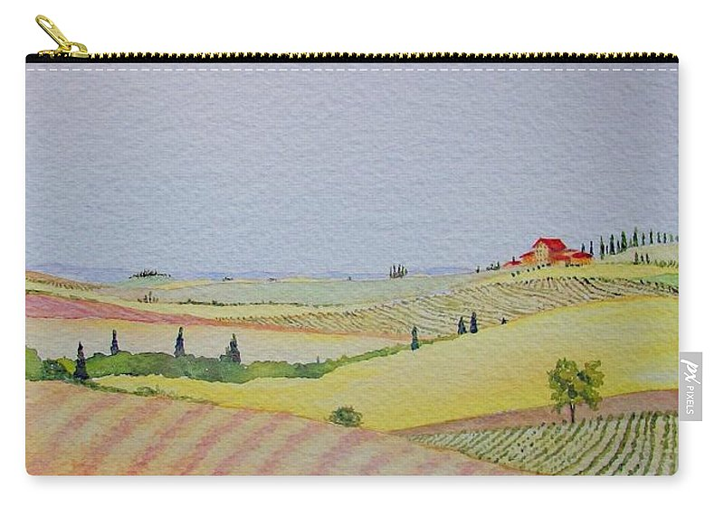 Watercolor Carry-all Pouch featuring the painting Tuscan Hillside Three by Mary Ellen Mueller Legault