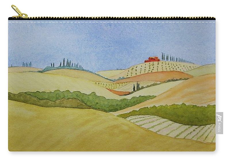 Italy Carry-all Pouch featuring the painting Tuscan Hillside Two by Mary Ellen Mueller Legault