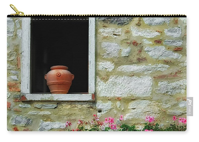 Tuscany Carry-all Pouch featuring the photograph Tuscan Window And Flower Pot by Mike Nellums