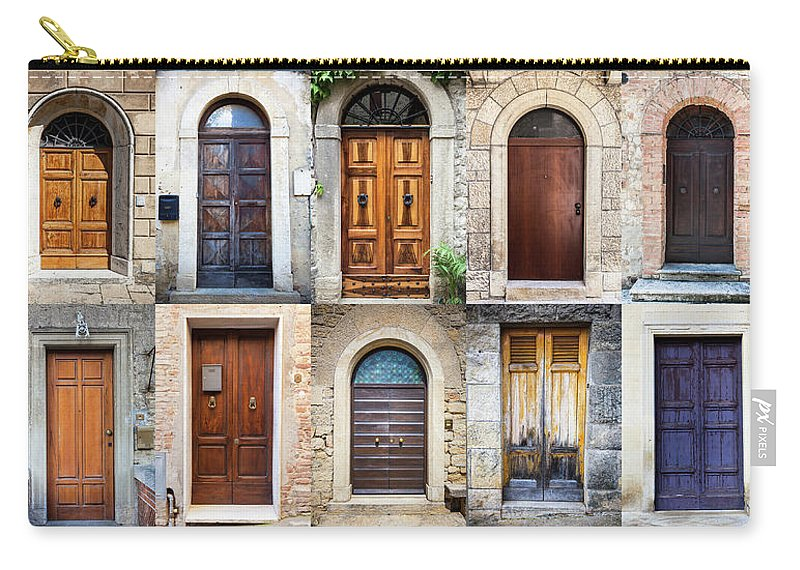 Arch Carry-all Pouch featuring the photograph Tuscan Wooden Doors, Italy by Moreiso