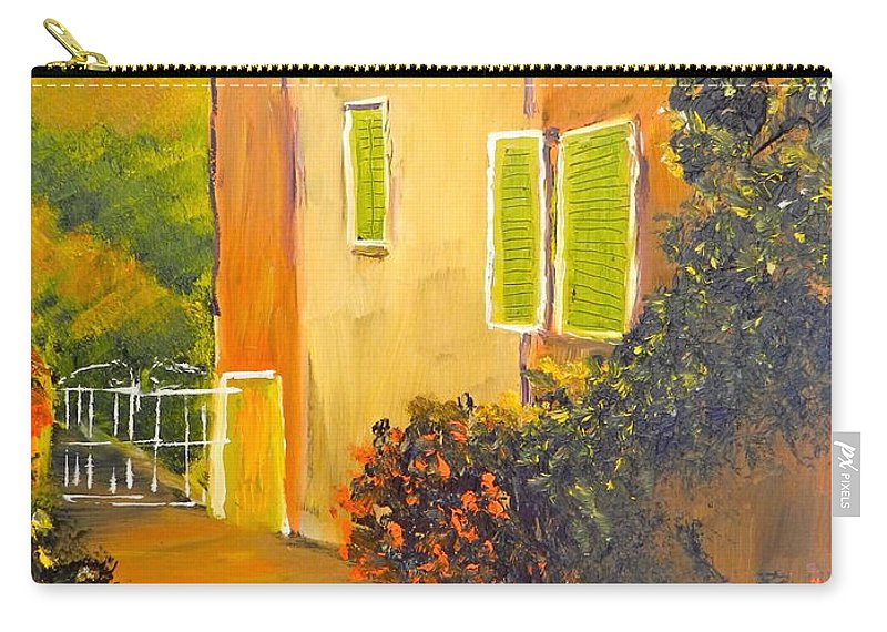 Tuscany Carry-all Pouch featuring the painting Tuscany Courtyard by Pamela Meredith