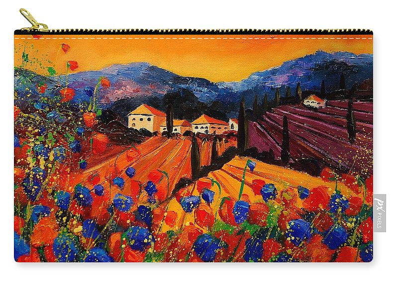 Poppies Carry-all Pouch featuring the painting Tuscany Poppies by Pol Ledent