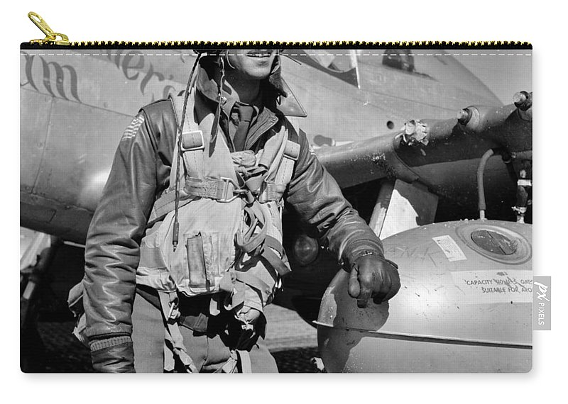 Tuskegee Carry-all Pouch featuring the photograph Tuskegee Airman by Benjamin Yeager