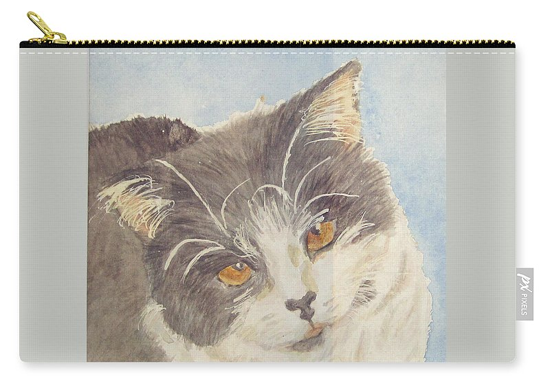 Tuxedo Cat Carry-all Pouch featuring the painting Tux by Carol Luzzi