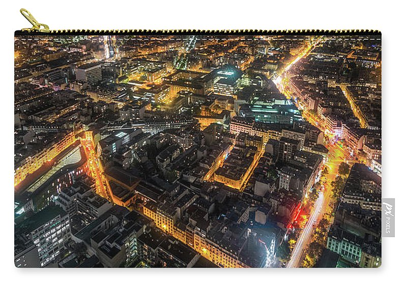 Tranquility Carry-all Pouch featuring the photograph Twilight City View Of Paris by Coolbiere Photograph