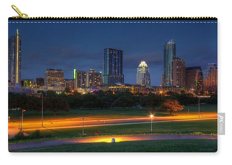 City Carry-all Pouch featuring the photograph Twilight Skyline by Dave Files