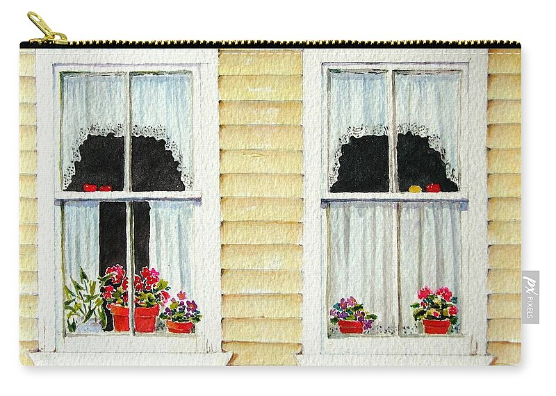 Windows Carry-all Pouch featuring the painting Twin Peeks by Mary Ellen Mueller Legault