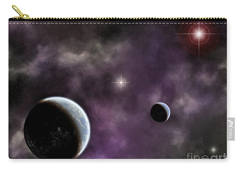 Space Carry-all Pouch featuring the digital art Twin Planets With Nebula by Antony McAulay