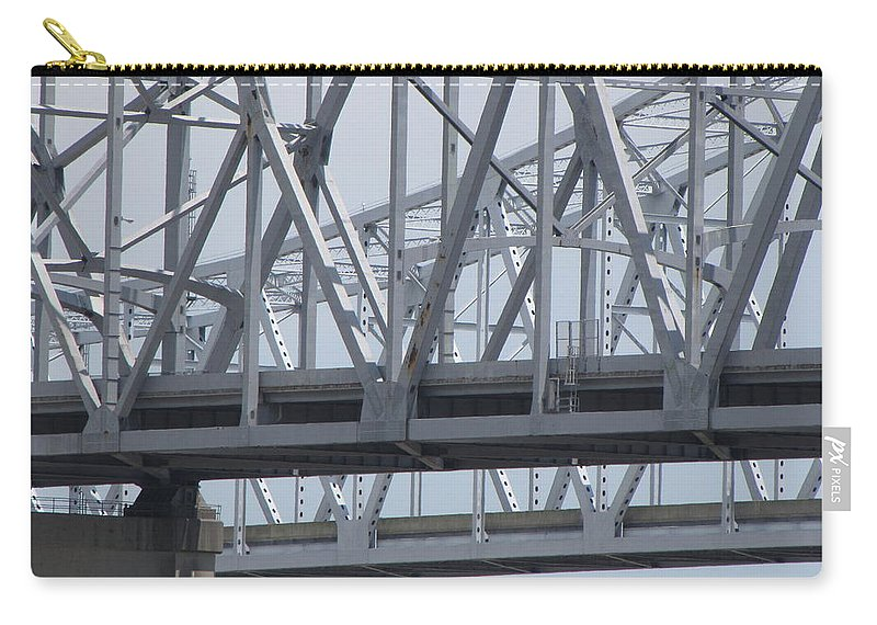 Bridge Carry-all Pouch featuring the photograph Twin Spans by Beth Vincent