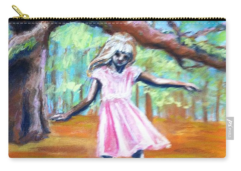 Child Carry-all Pouch featuring the painting Twirl Under The Oaks by Beverly Boulet