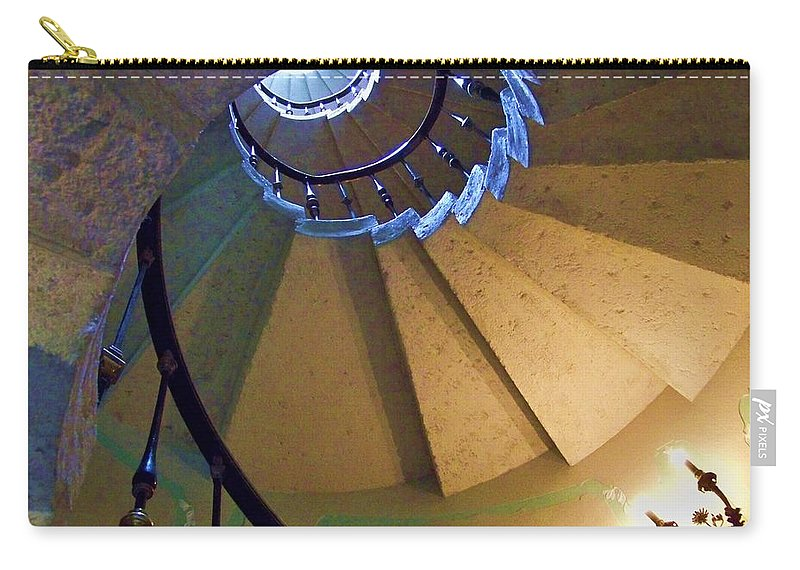 Stairs Carry-all Pouch featuring the photograph twisted stairs Vizcaya by Chuck Hicks