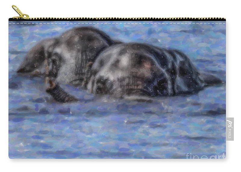 African Elephant Carry-all Pouch featuring the digital art Two African Elephants Swimming In The Chobe River by Liz Leyden
