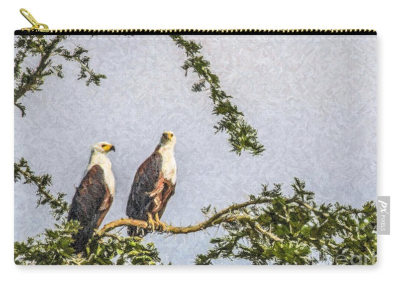 African Fish Eagle Carry-all Pouch featuring the digital art Two African Fish Eagles Haliaeetus Vocifer by Liz Leyden