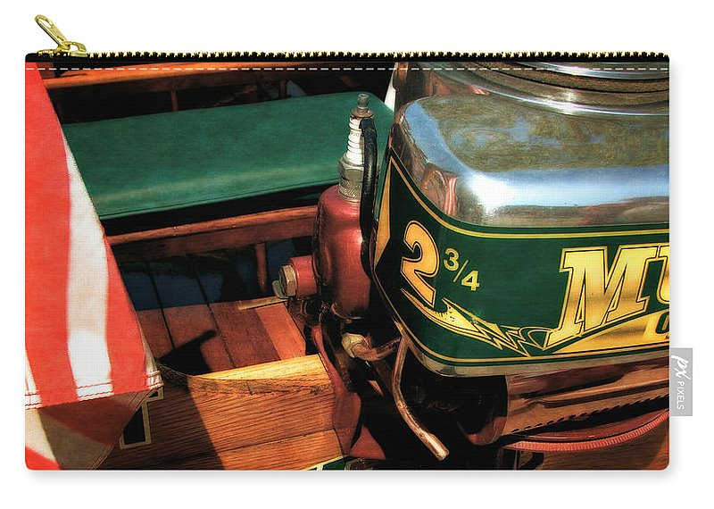 Muncie Gear Company Carry-all Pouch featuring the photograph Two And Three Quarters Hp Muncie Outboard Motor by Michelle Calkins