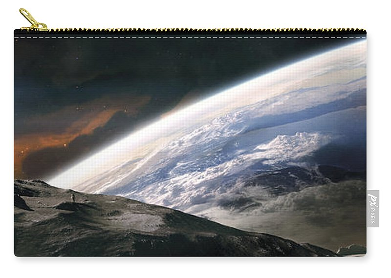 Horizontal Carry-all Pouch featuring the digital art Two Astronauts Exploring A Moon by Tobias Roetsch