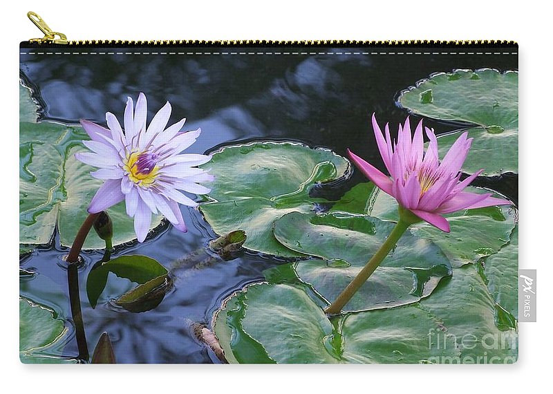 Water Lily Carry-all Pouch featuring the photograph Two Beauties by Mary Deal