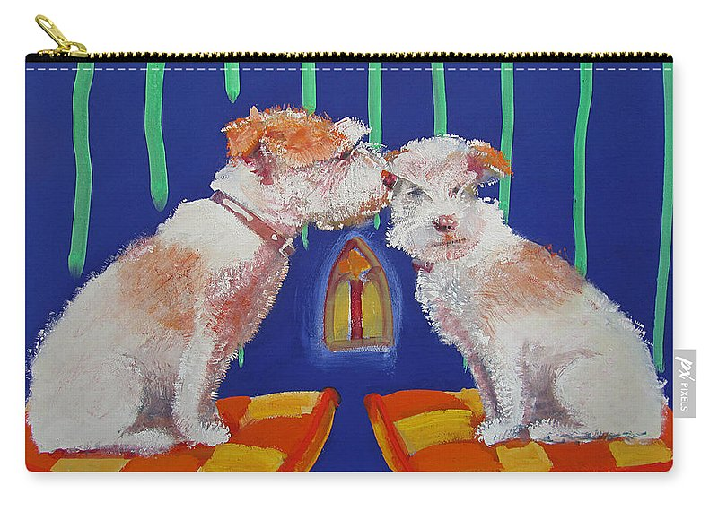 Puppy Carry-all Pouch featuring the painting Two Border Terriers Together by Charles Stuart