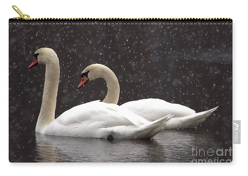 Swan Carry-all Pouch featuring the photograph Two Christmas Swans A Swimming by Kenny Glotfelty