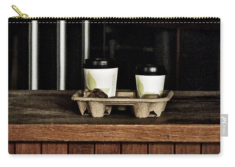 Coffee Carry-all Pouch featuring the photograph Two Coffees And A Muffin To Takeaway by Steve Taylor
