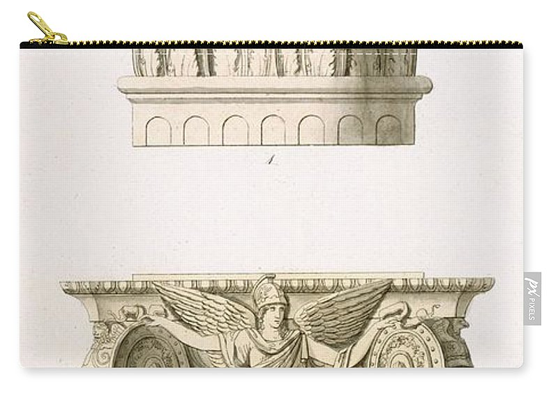 Architecture Carry-all Pouch featuring the drawing Two Column Capitals by English School