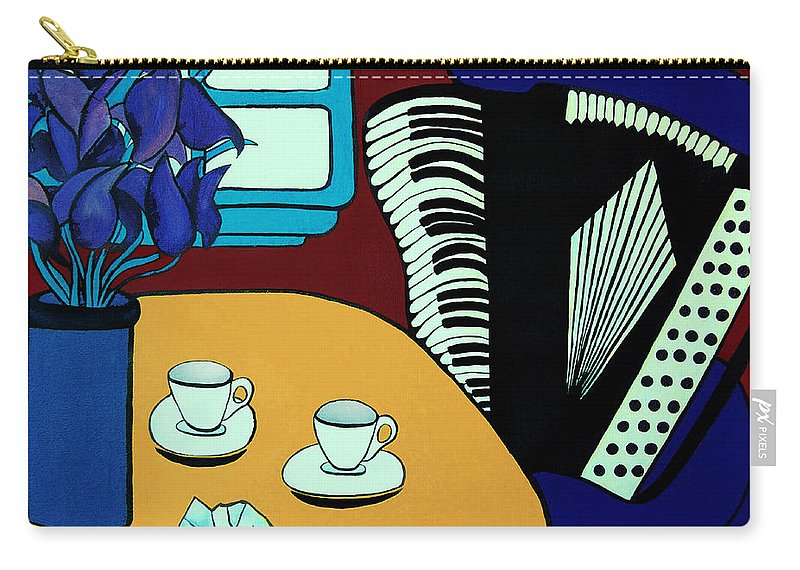 Cafe Carry-all Pouch featuring the painting Two Cups One Accordian by Barbara McMahon