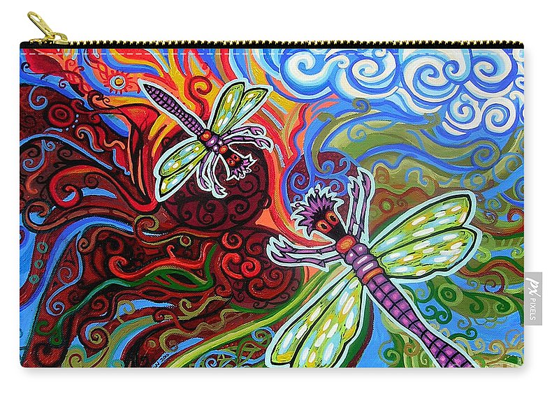 Dragonfly Carry-all Pouch featuring the painting Two Dragonflies by Genevieve Esson