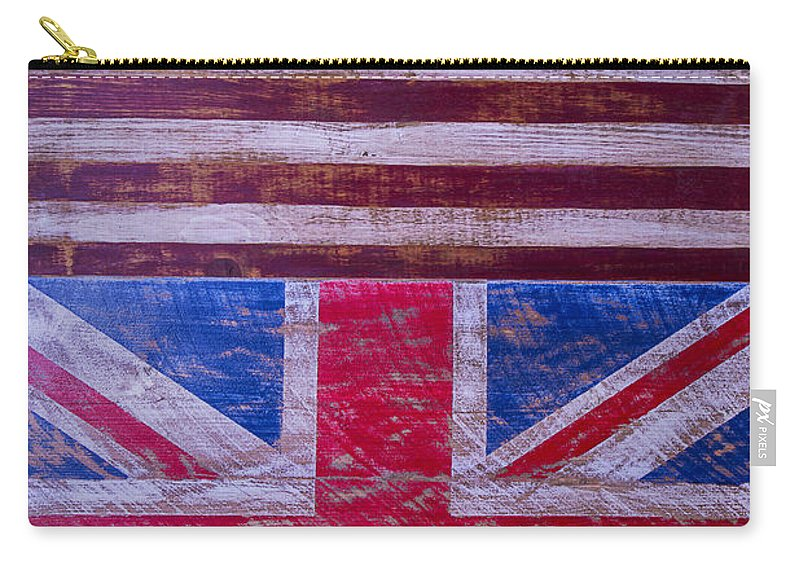 Two Carry-all Pouch featuring the photograph Two Flags American And British by Garry Gay