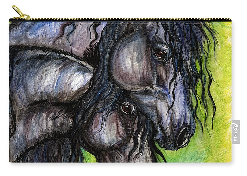 Fresian Horse Carry-all Pouch featuring the painting Two Fresian Horses by Angel Ciesniarska
