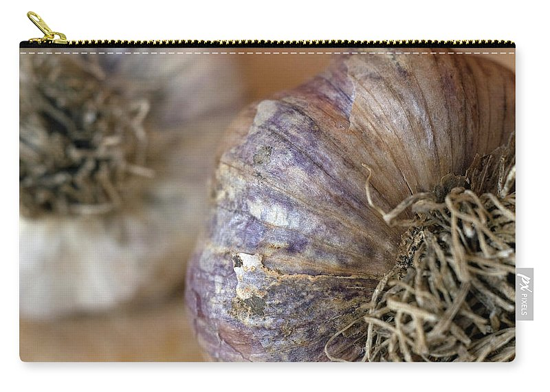 Garlic Carry-all Pouch featuring the photograph Two Garlic Heads, Close-up by Rebecca E Marvil