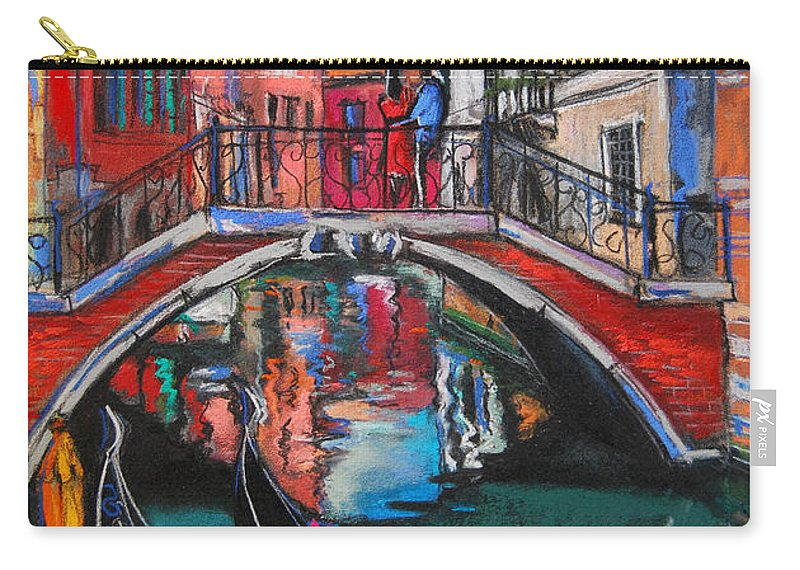 Two Gondolas In Venice Carry-all Pouch featuring the painting Two Gondolas In Venice by Mona Edulesco
