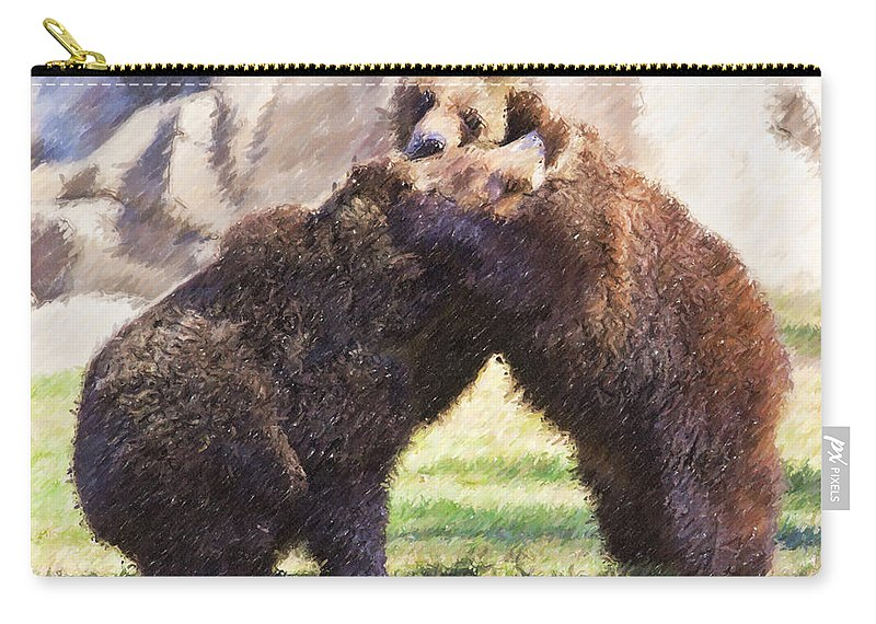 Grizzly Bear Carry-all Pouch featuring the digital art Two Grizzly Bears Ursus Arctos Play Fighting by Liz Leyden